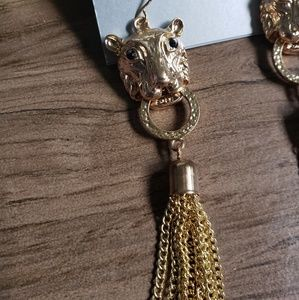 Lux Jewelry - Lux Gold Lion head animal chain dangle earrings